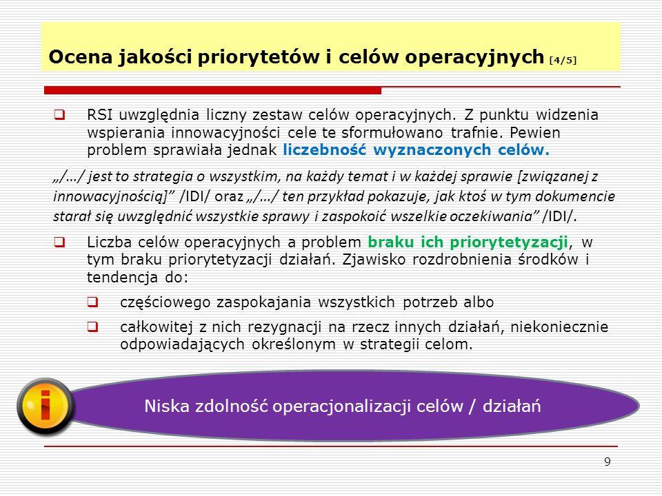 Ocena jakości priorytetów i celów operacyjnych [4/5]